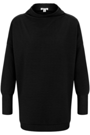 Tribal  Funnel Neck Tunic - Black - Product Mini Image