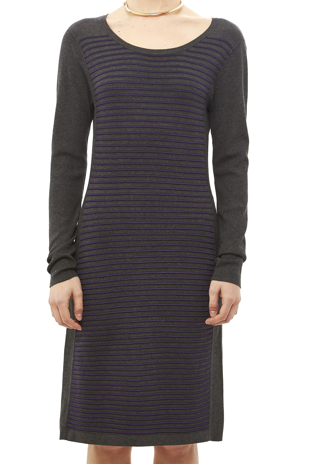 Tribal Gray Stripe Dress - Side Cropped Image