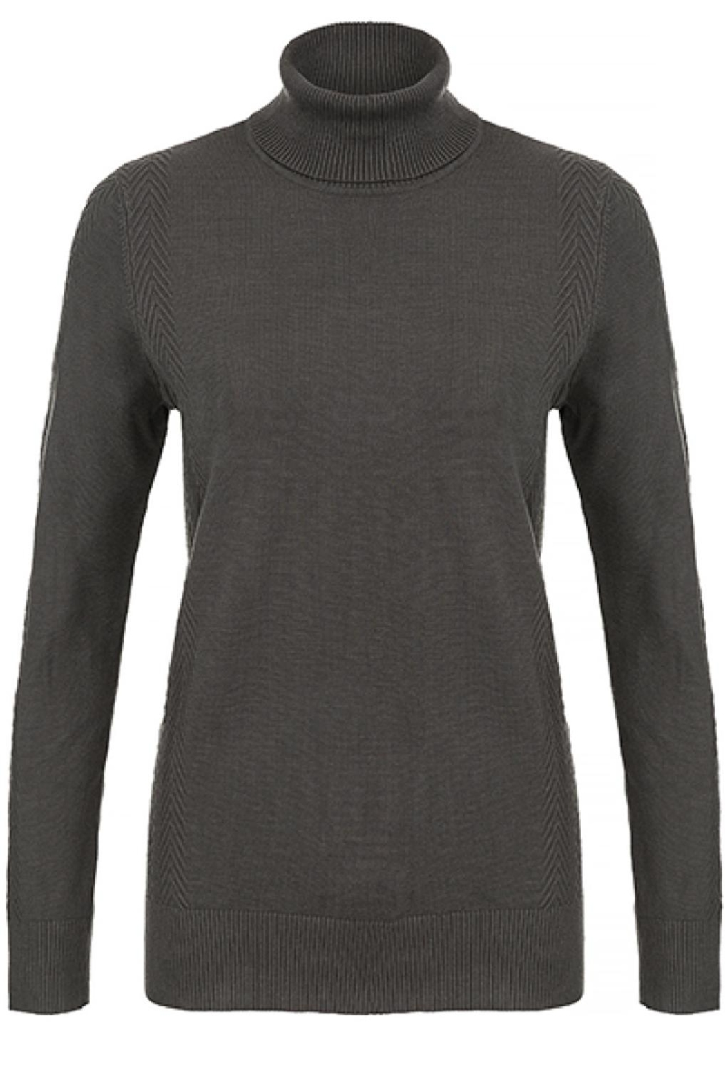 Tribal Grey Turtleneck Sweater - Front Cropped Image