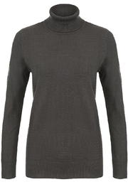 Tribal Grey Turtleneck Sweater - Front cropped