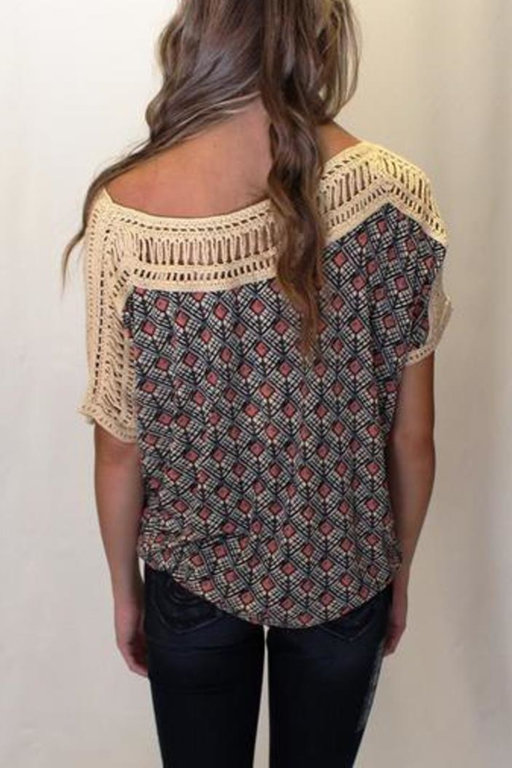 Free People Tribal Grunge Top - Back Cropped Image