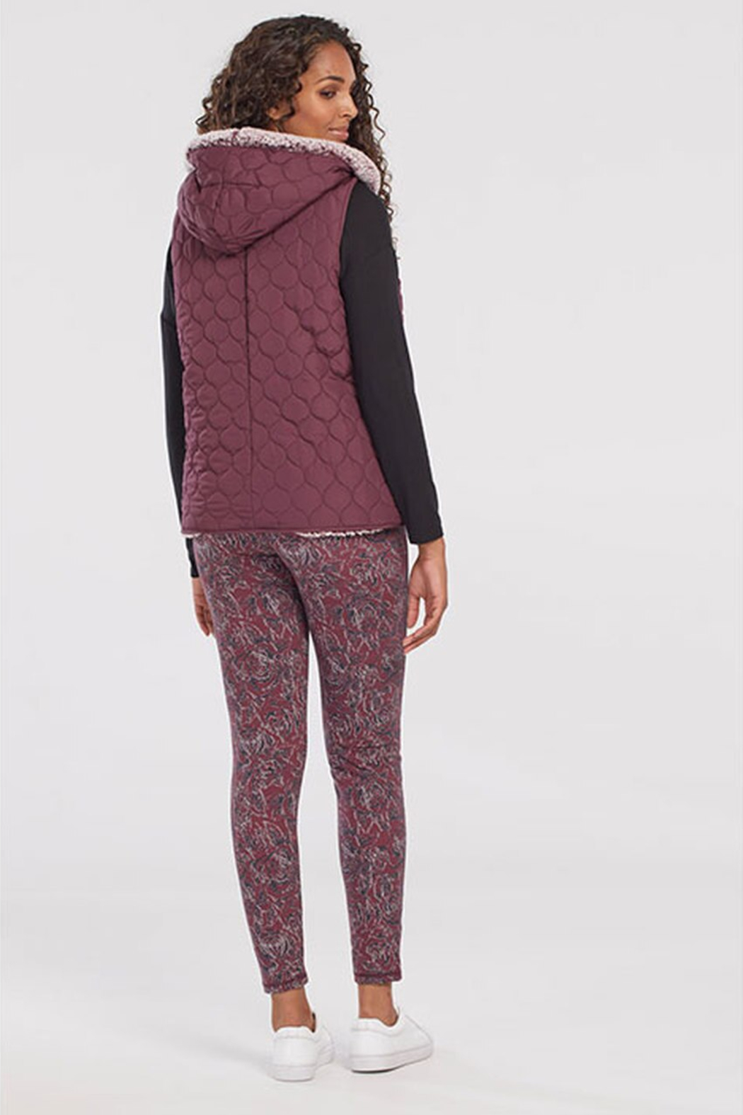 Tribal  Hooded Quilted Vest W/Sherpa Lining Wine 43810/3056/0009 - Front Full Image