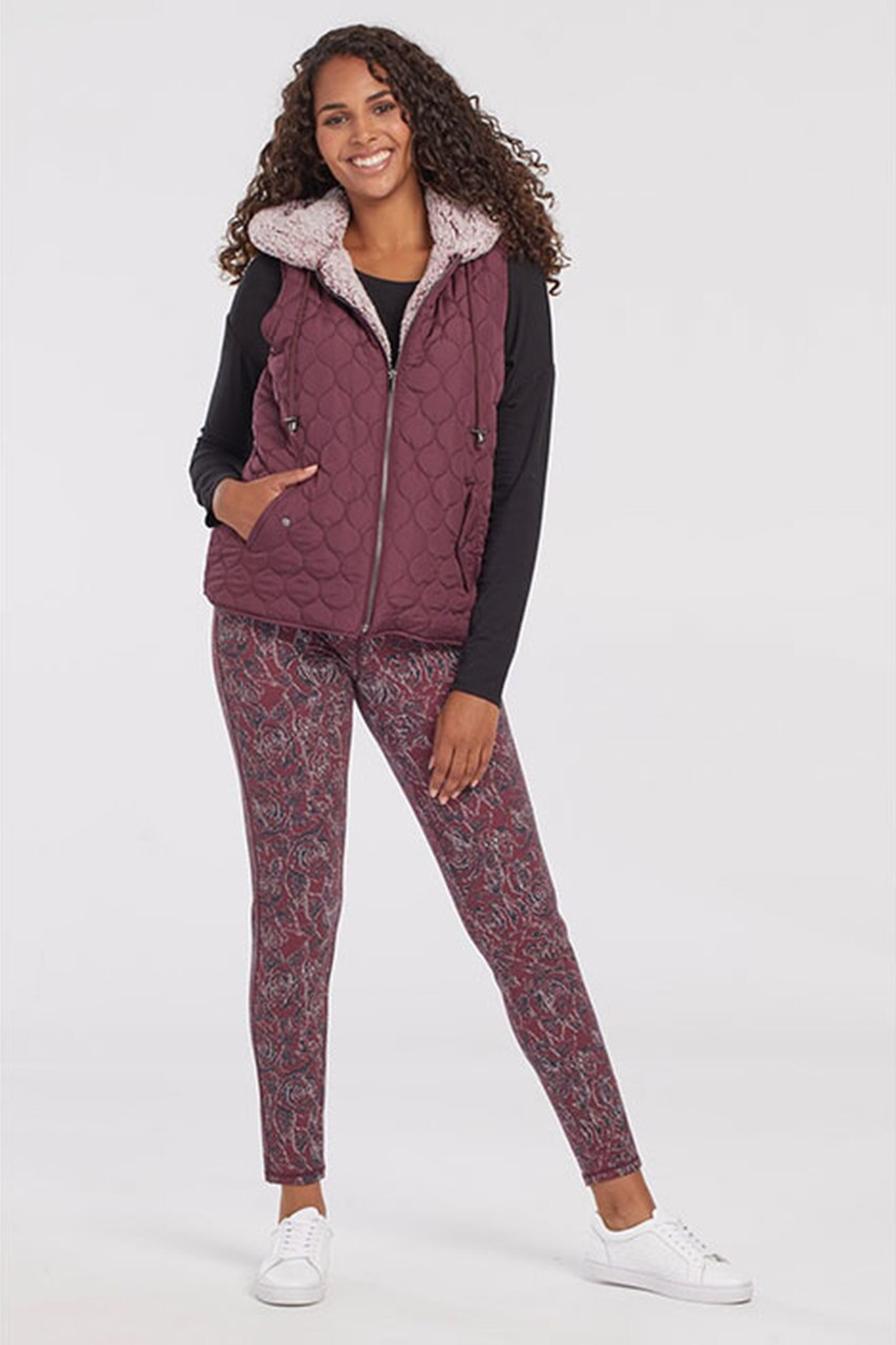 Tribal  Hooded Quilted Vest W/Sherpa Lining Wine 43810/3056/0009 - Side Cropped Image
