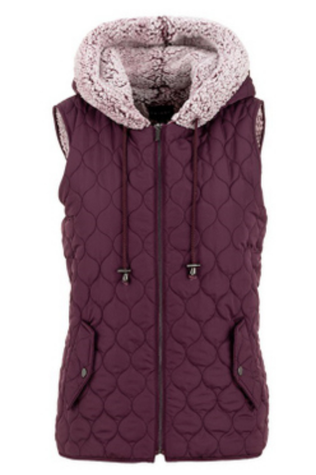 Tribal  Hooded Quilted Vest W/Sherpa Lining Wine 43810/3056/0009 - Main Image
