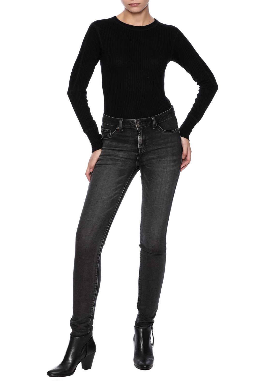 Tribal Jeans Black Distressed Jean - Front Full Image