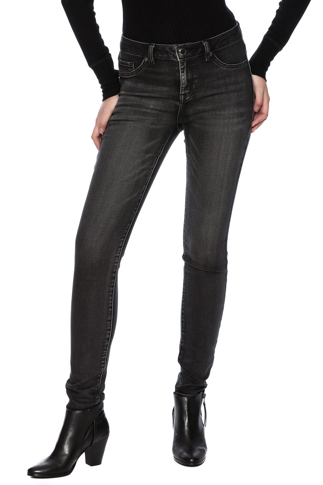 Tribal Jeans Black Distressed Jean - Main Image