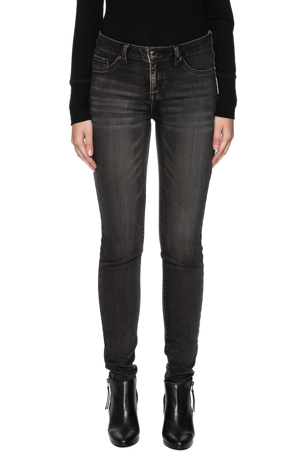 Tribal Jeans Black Distressed Jean - Side Cropped Image