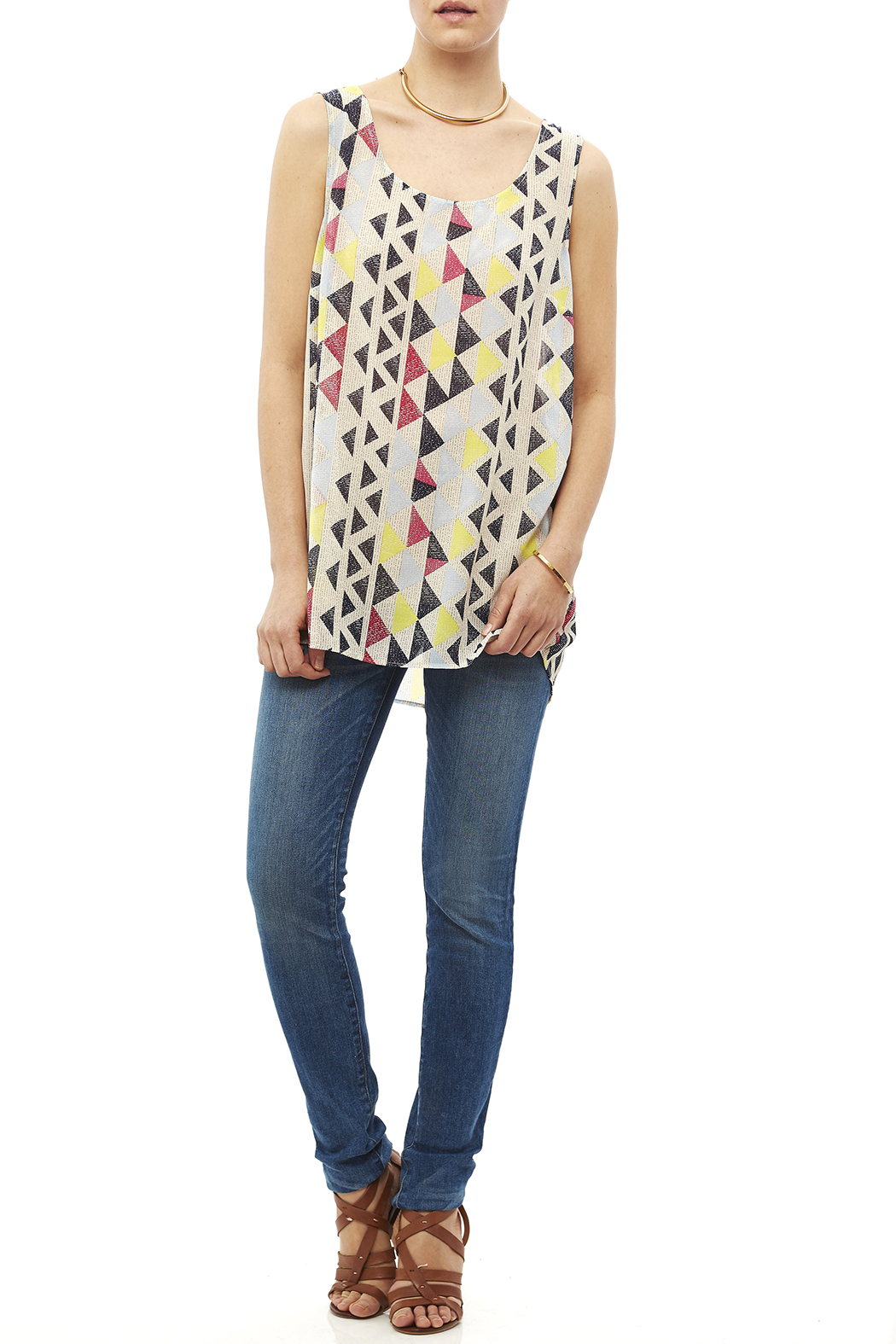 Tribal Jeans Colorful Tunic Tank - Front Full Image