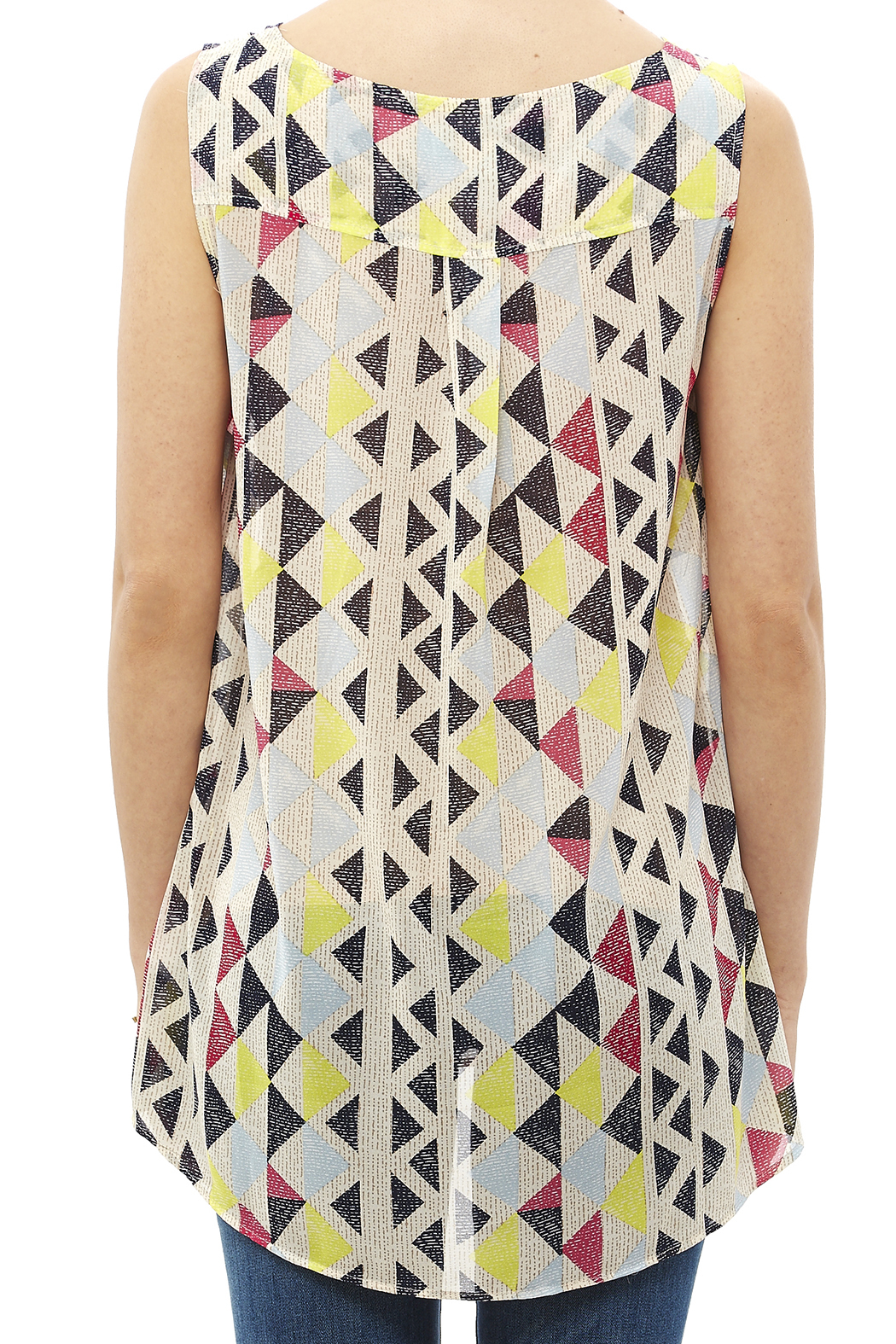 Tribal Jeans Colorful Tunic Tank - Back Cropped Image