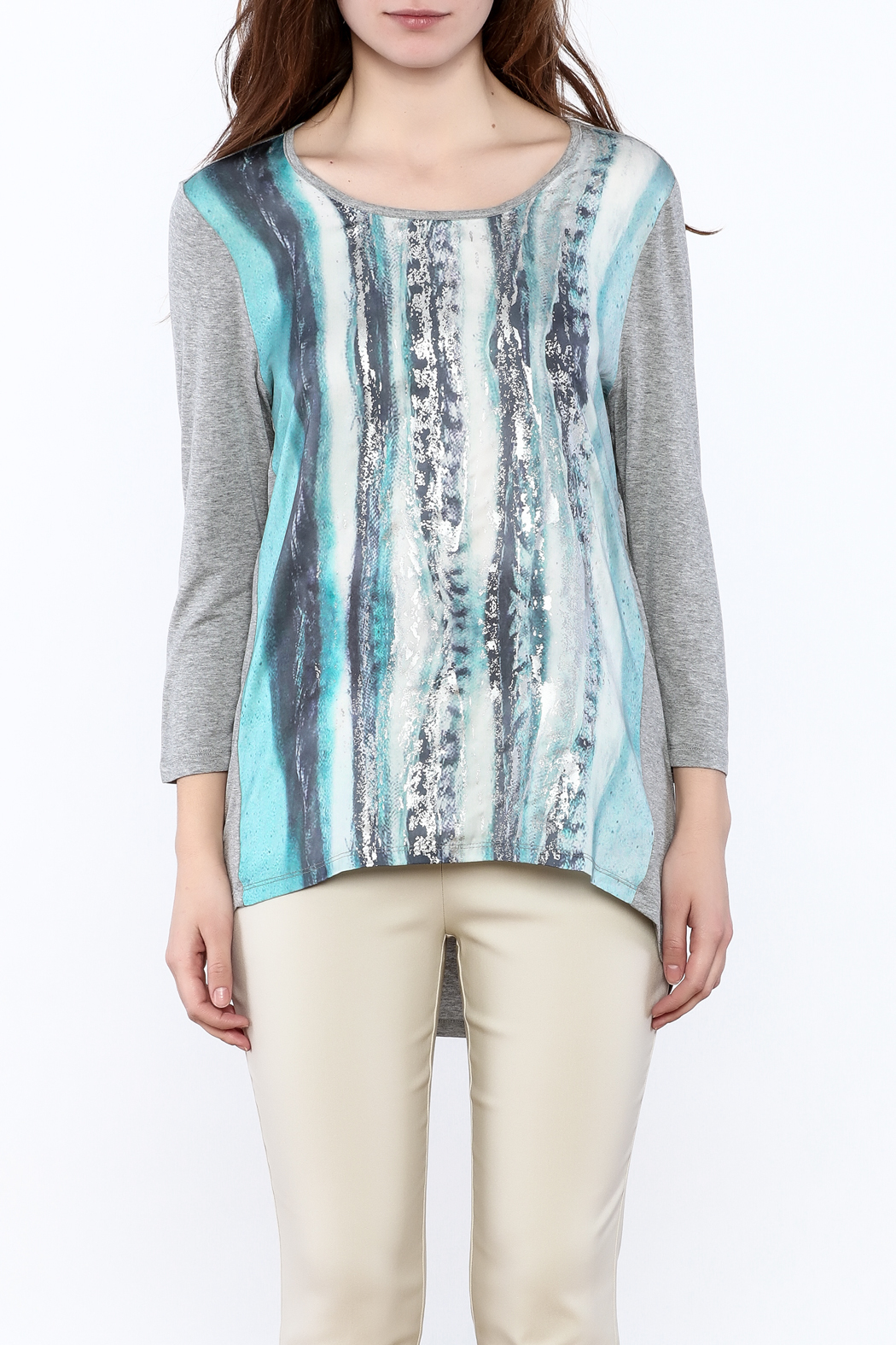 Tribal Jeans Graphic Tunic Top - Side Cropped Image