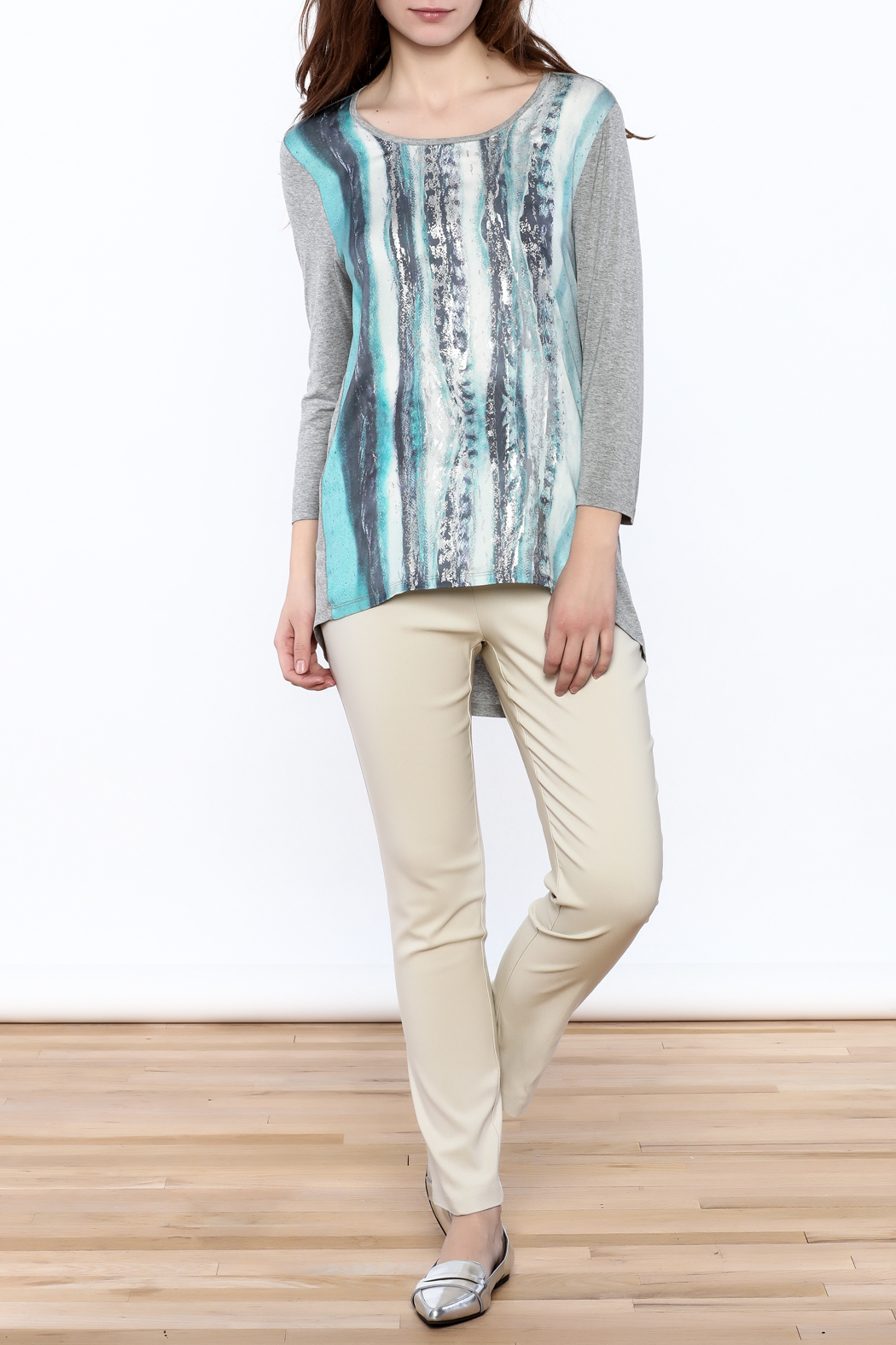 Tribal Jeans Graphic Tunic Top - Front Full Image