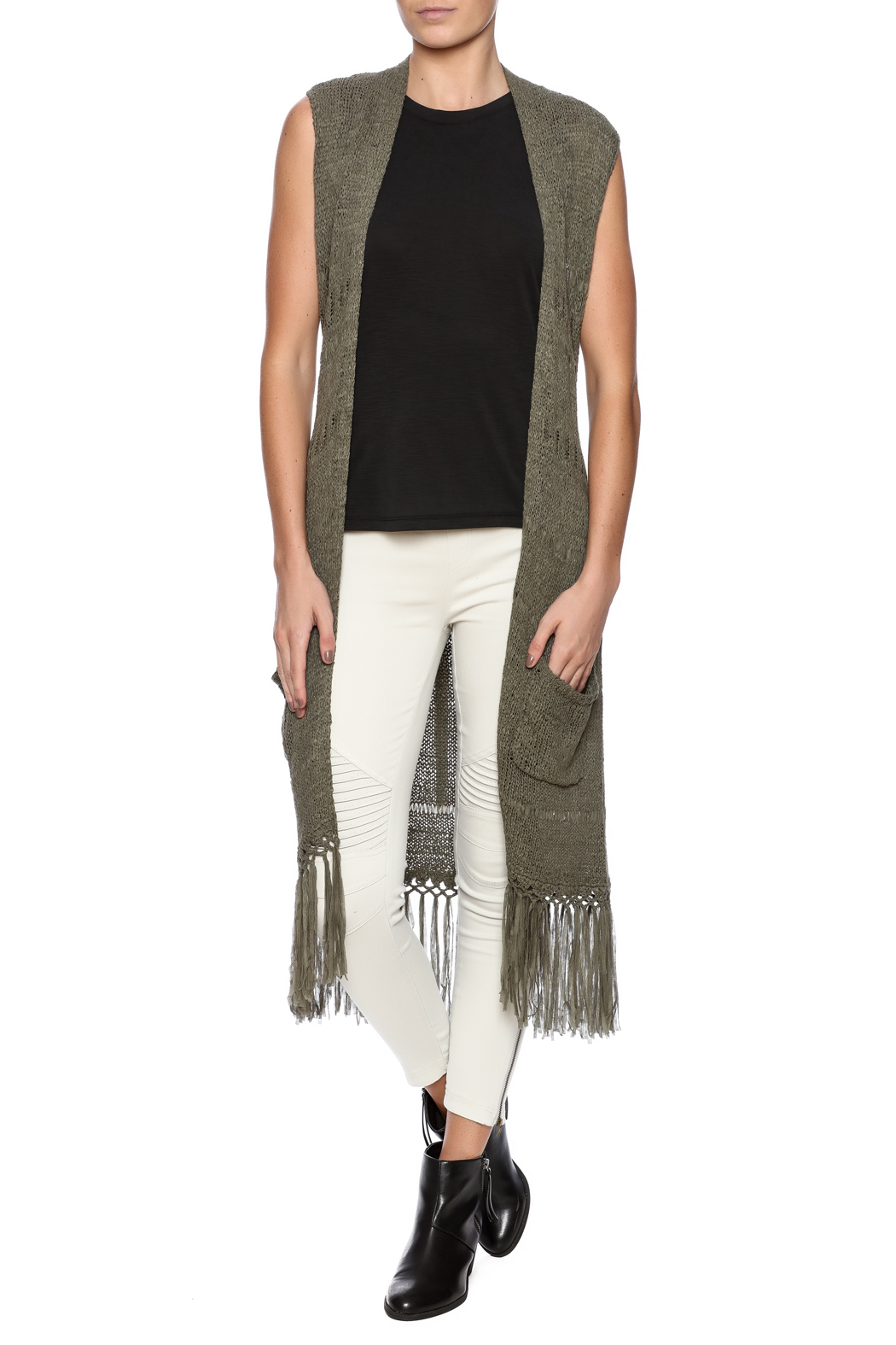 Tribal Jeans Sleeveless Fringe Sweater Vest - Front Full Image