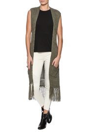 Tribal Jeans Sleeveless Fringe Sweater Vest - Front full body