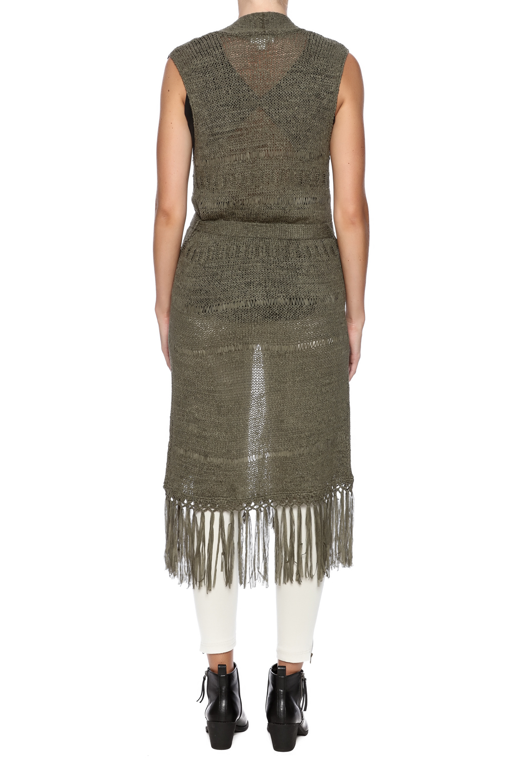 Tribal Jeans Sleeveless Fringe Sweater Vest - Back Cropped Image