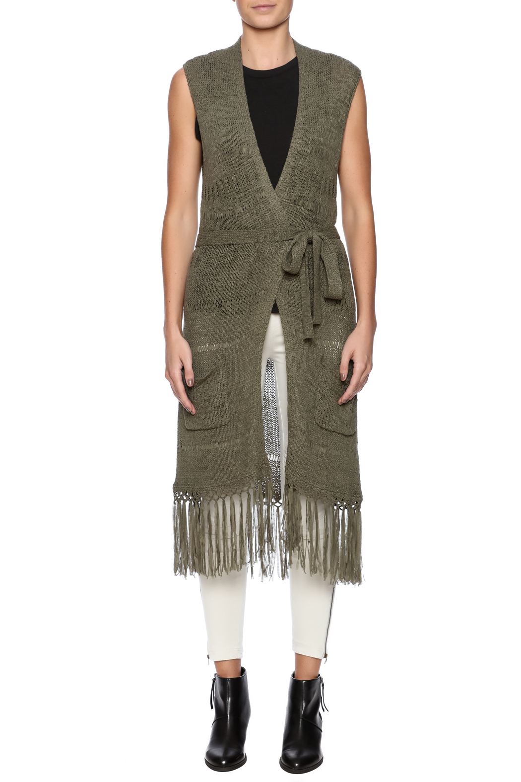 Tribal Jeans Sleeveless Fringe Sweater Vest - Front Cropped Image