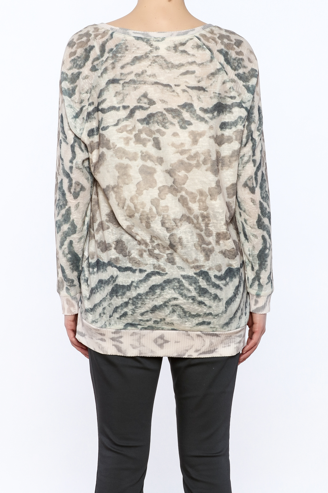 Tribal Jeans Animal Print Sweater - Back Cropped Image