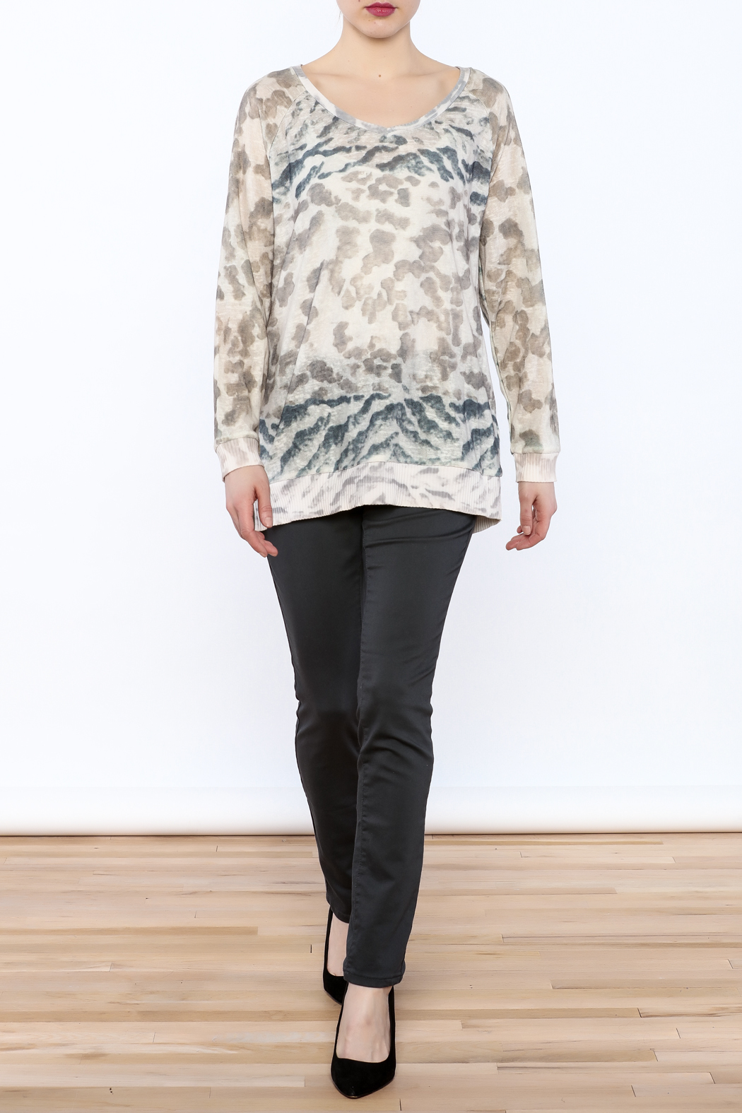 Tribal Jeans Animal Print Sweater - Front Full Image