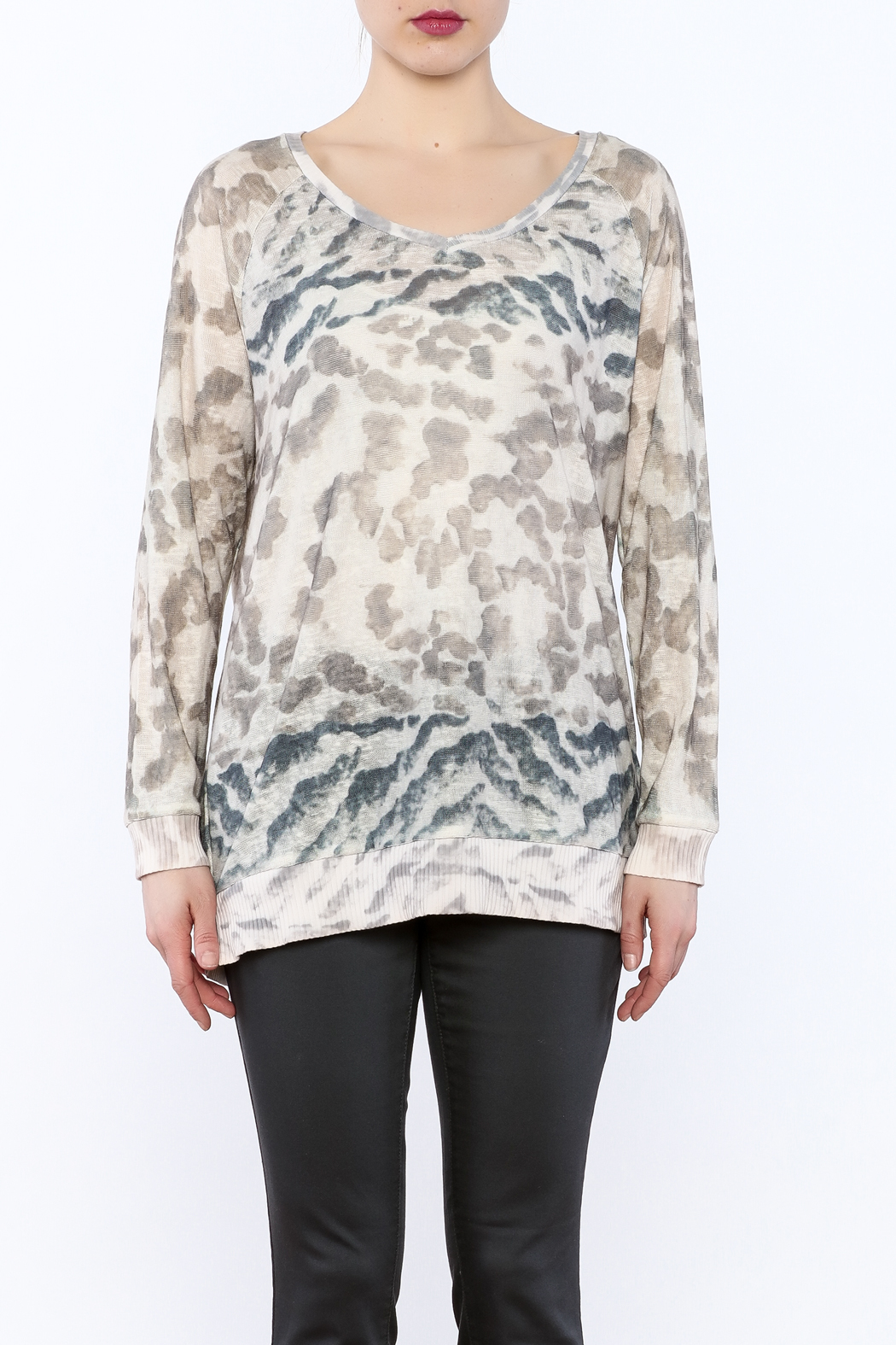 Tribal Jeans Animal Print Sweater - Side Cropped Image