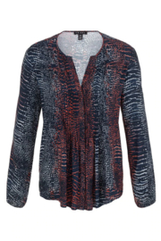 Tribal  L/S Blouse with Pleats Dark Marine 43390/1434 2445 - Front cropped
