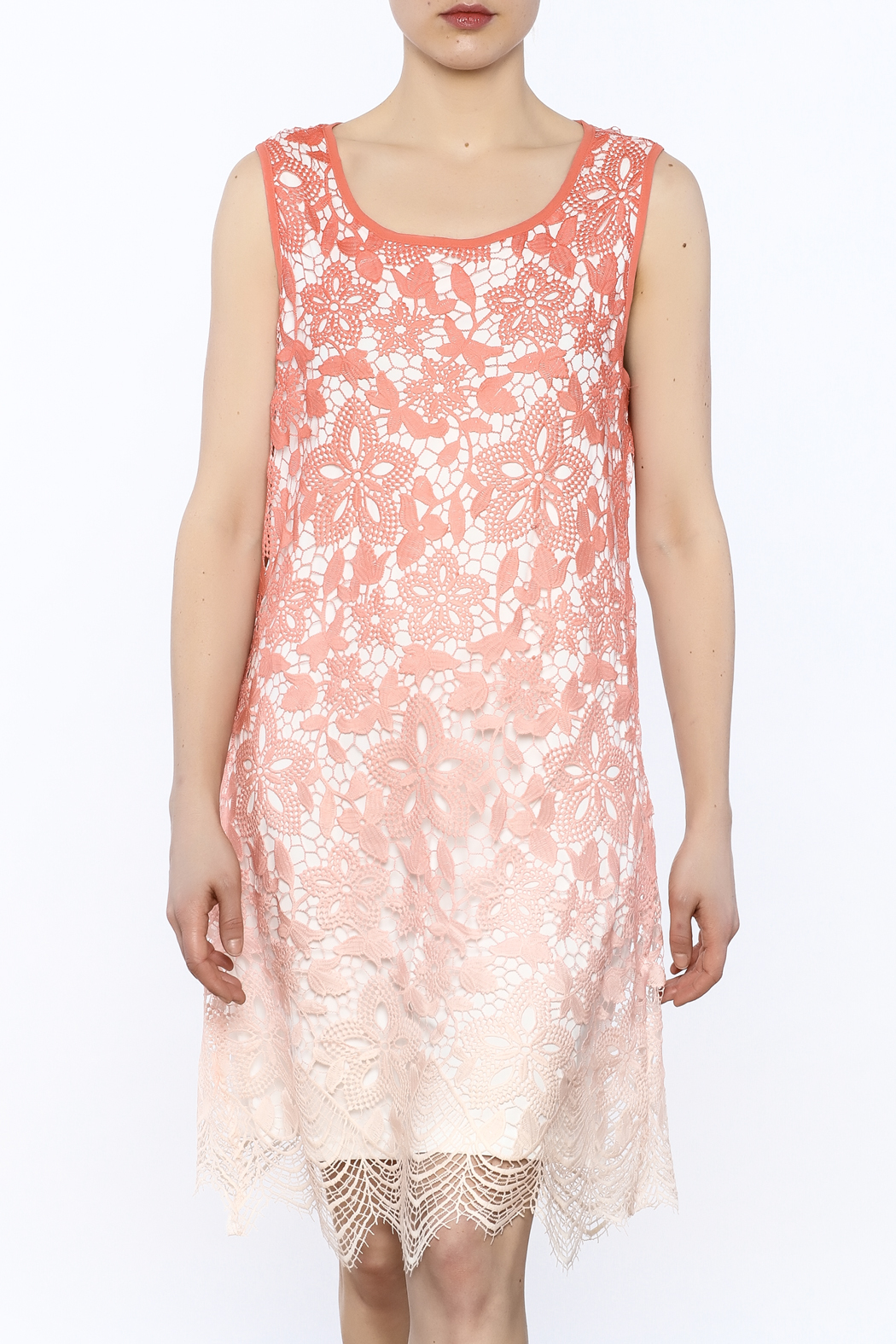 Tribal Coral Lace Dress - Main Image