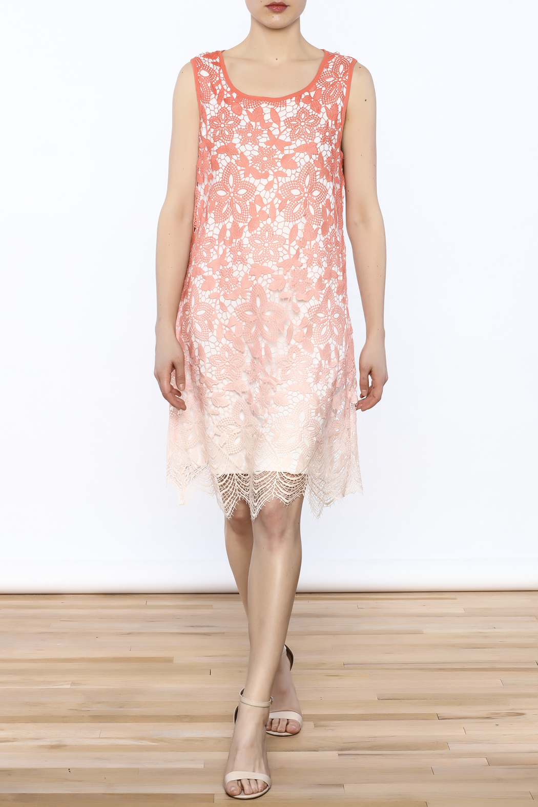Tribal Coral Lace Dress - Front Full Image