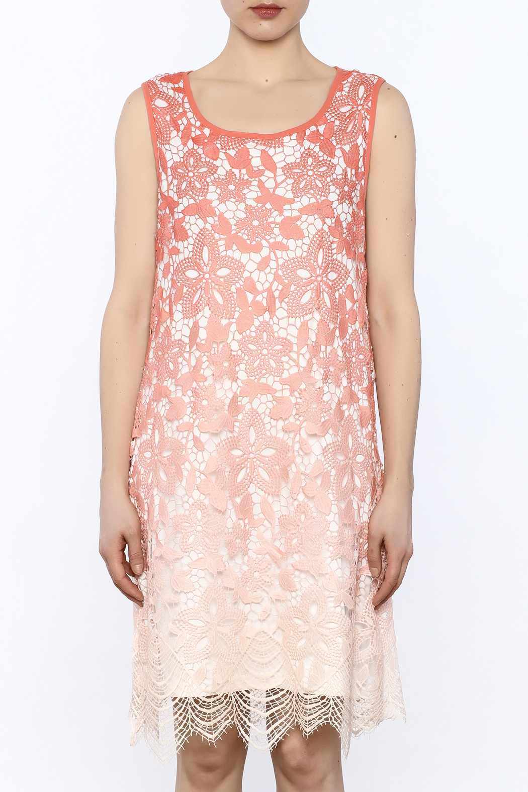 Tribal Coral Lace Dress - Side Cropped Image