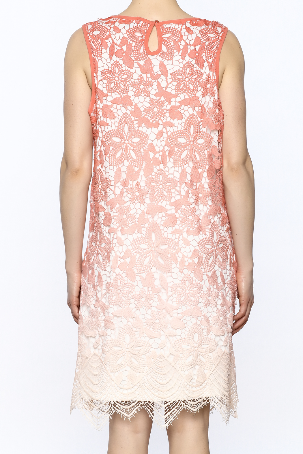 Tribal Coral Lace Dress - Back Cropped Image