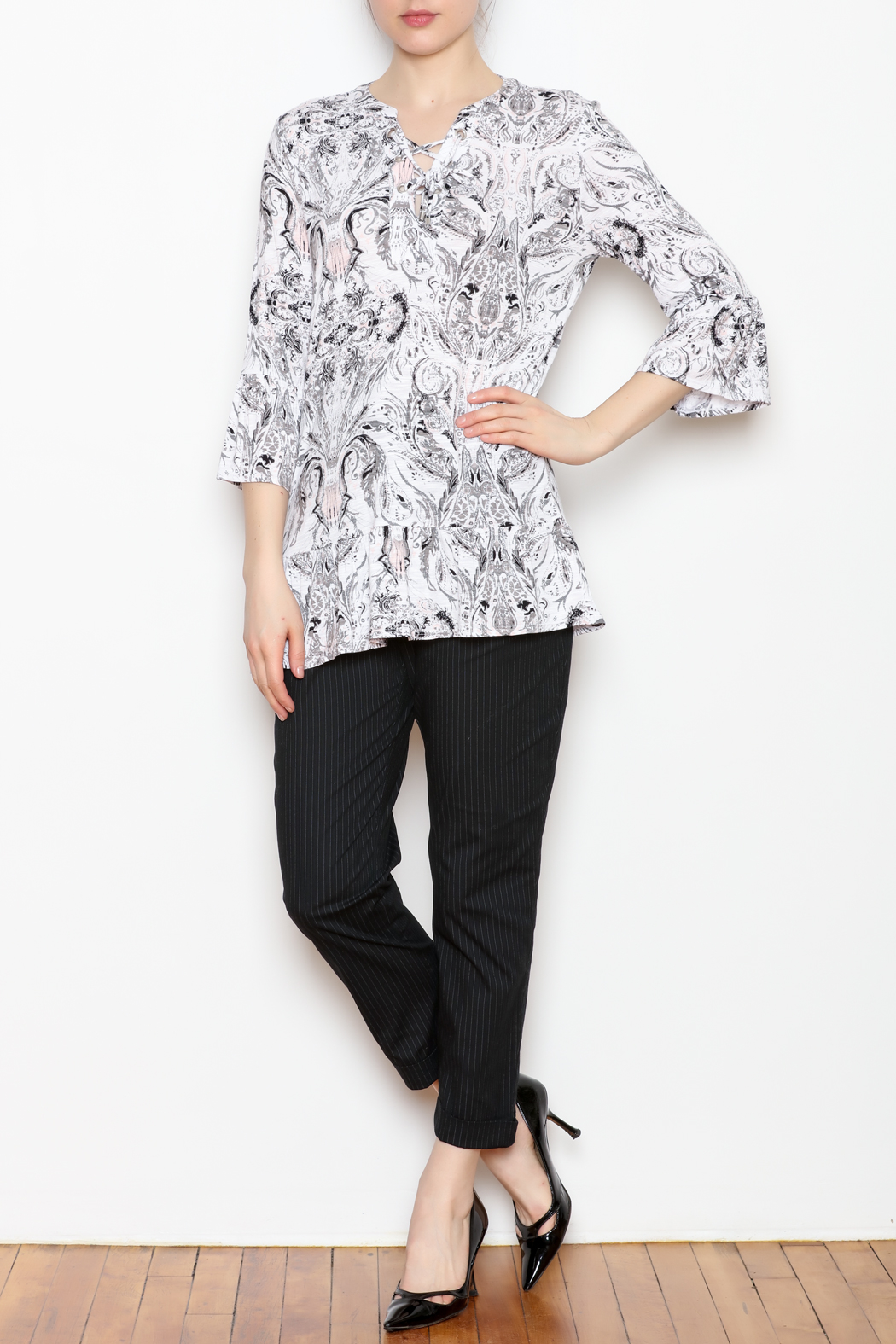Tribal Lace Up Top - Front Full Image