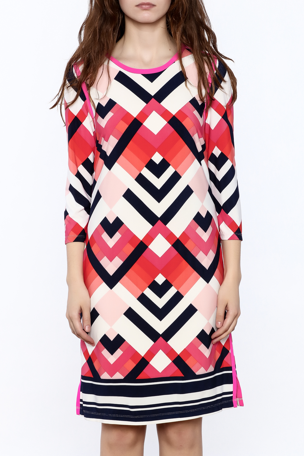 Tribal Print Knee Dress - Side Cropped Image