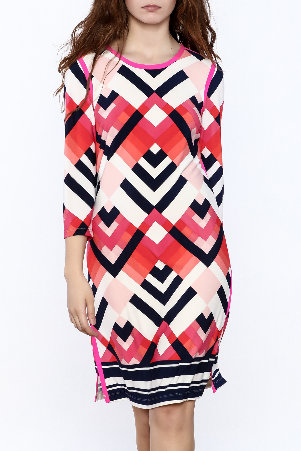 Tribal Print Knee Dress - Front Cropped Image
