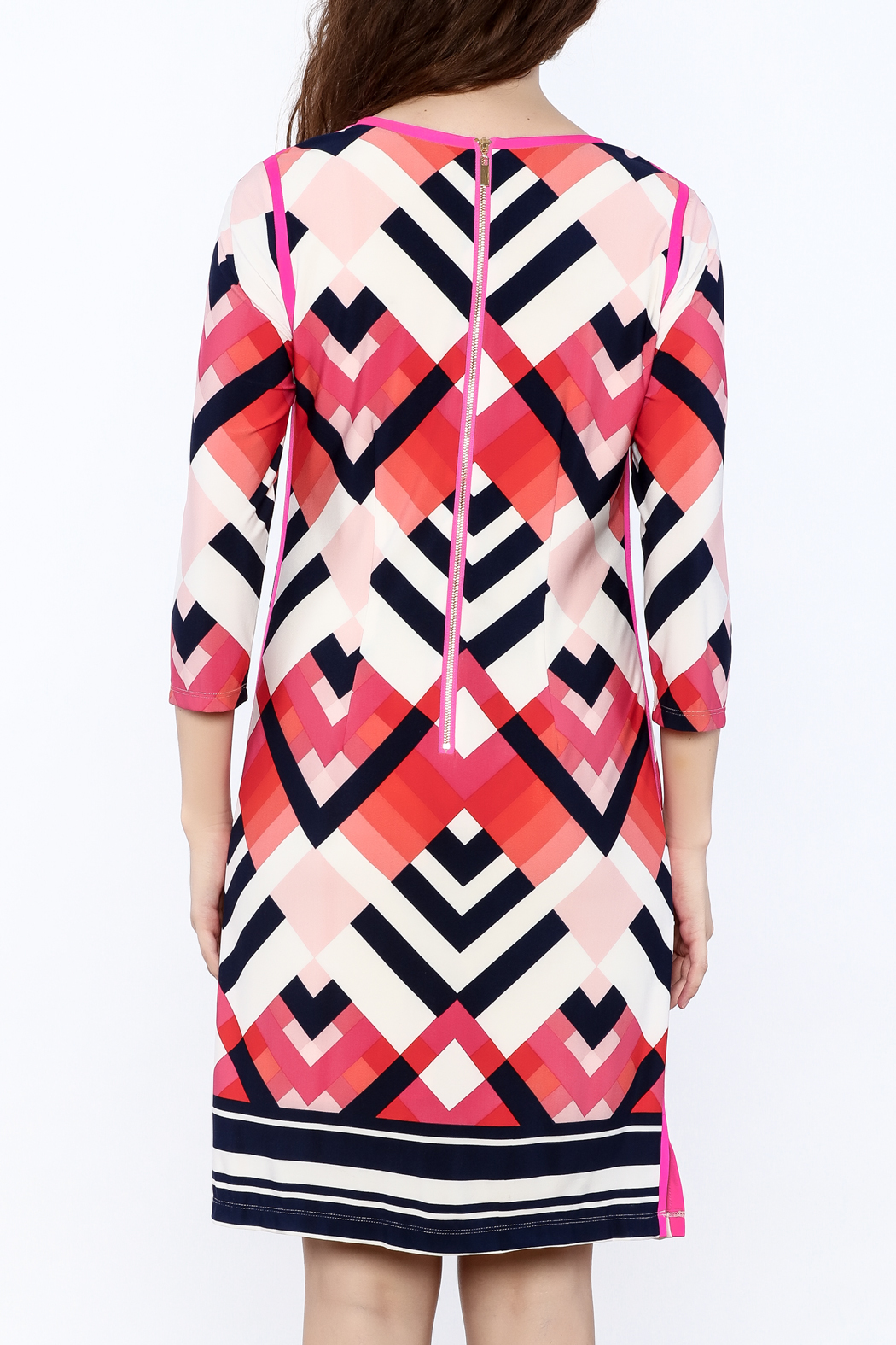 Tribal Print Knee Dress - Back Cropped Image