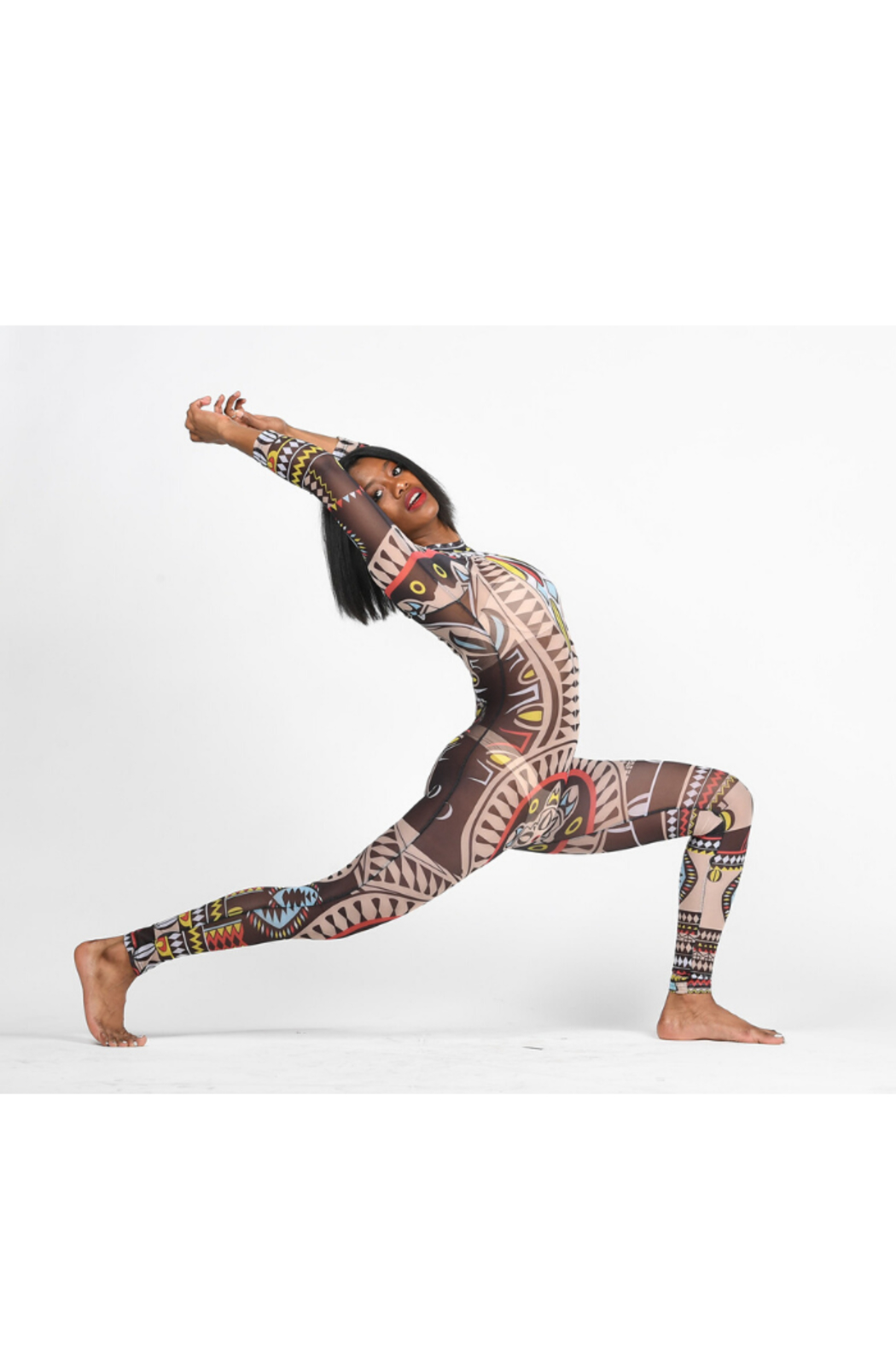 Tiny House of Fashion Tribal Mesh Jumpsuit - Side Cropped Image