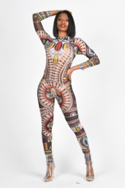 Tiny House of Fashion Tribal Mesh Jumpsuit - Front cropped
