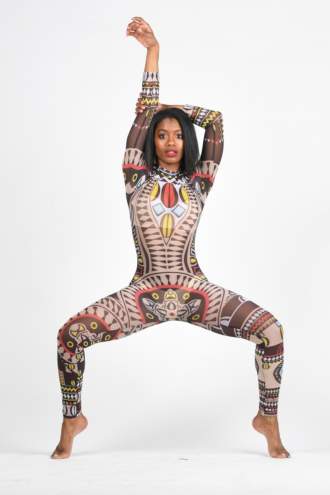 Tiny House of Fashion Tribal Mesh Jumpsuit - Front Full Image