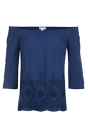 Tribal Navy Embroidered Top - Front cropped