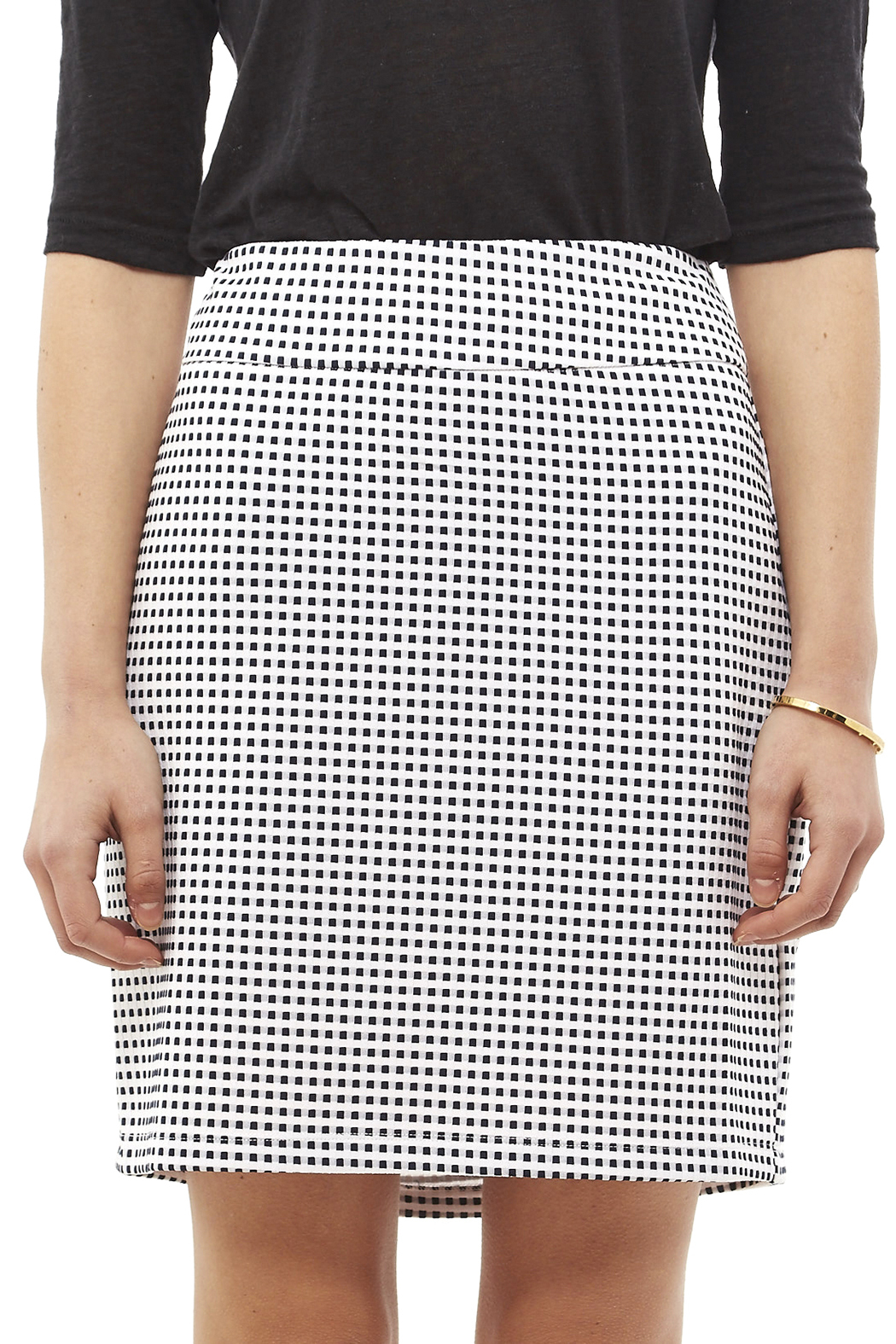 Tribal Navy White Check Skirt - Side Cropped Image
