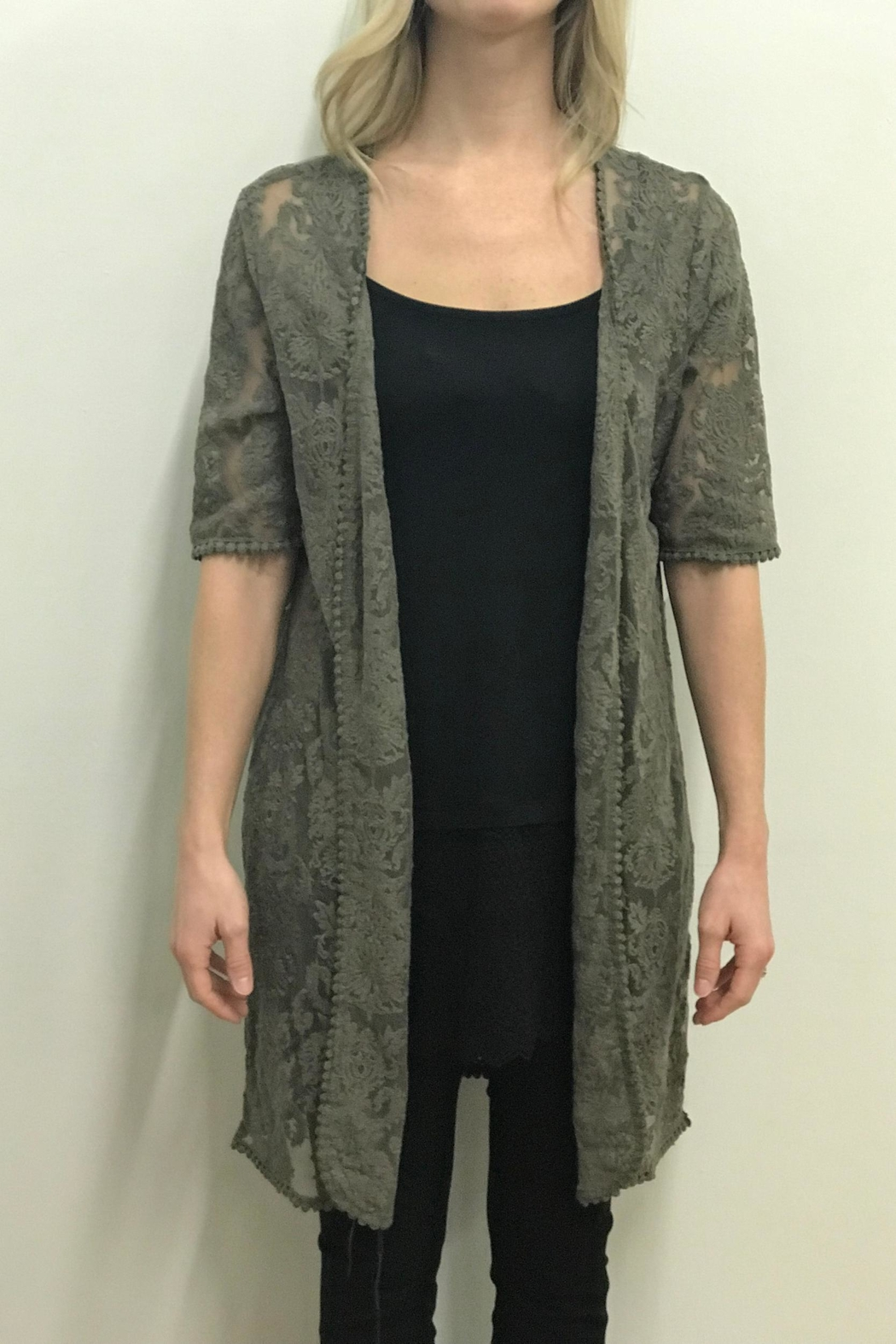 Tribal Olive Lace Cardigan - Front Cropped Image