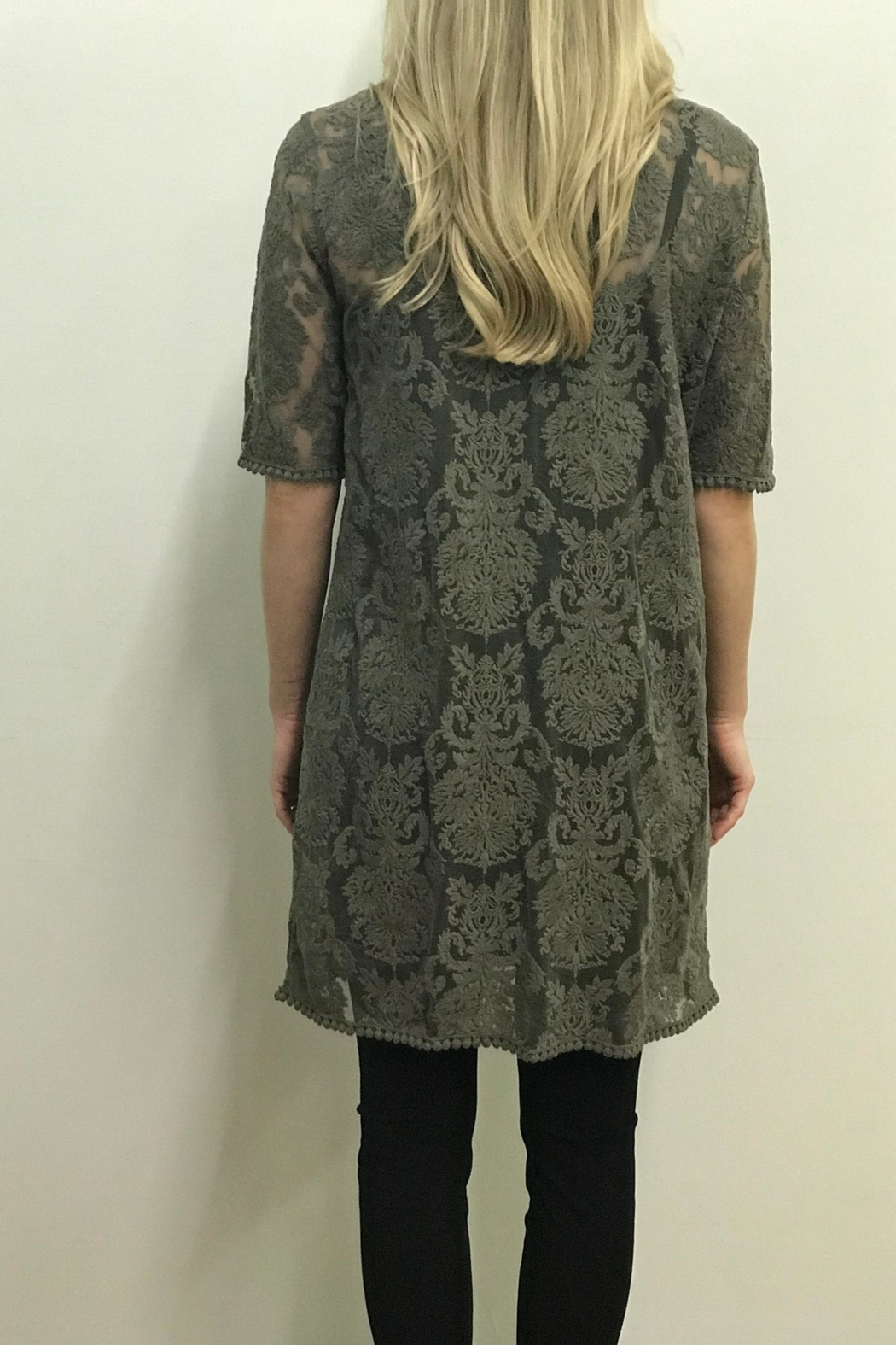 Tribal Olive Lace Cardigan - Side Cropped Image