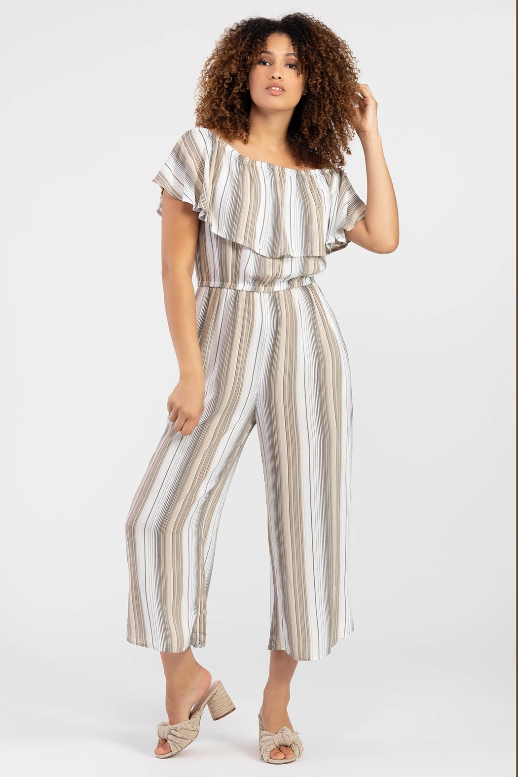 Tribal On-Off Shoulder Jumpsuit - Main Image
