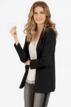 Shoptiques Product: Tribal Pinstripe Blazer - Charcoal