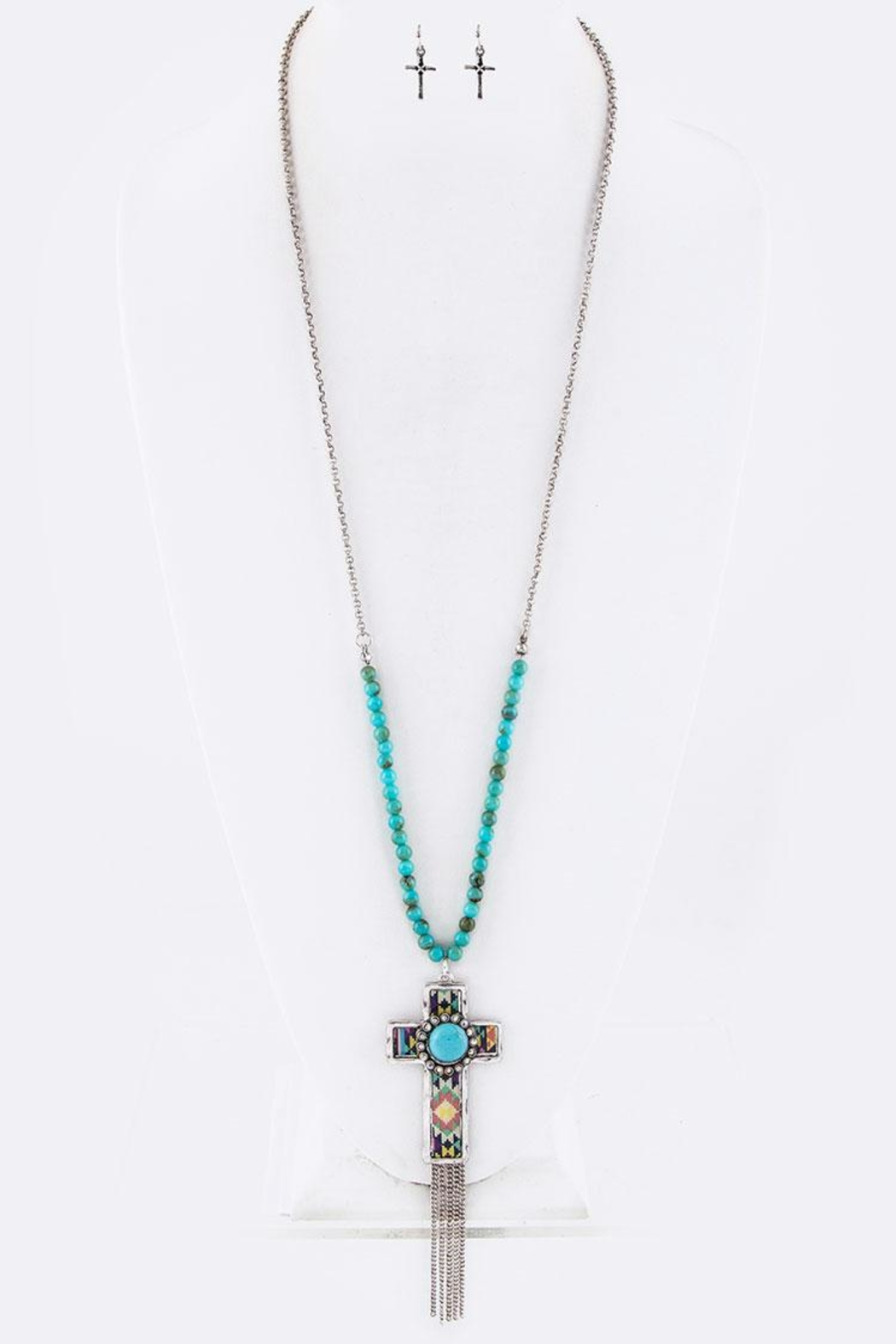 Nadya's Closet Tribal Print Cross-Necklace - Front Full Image