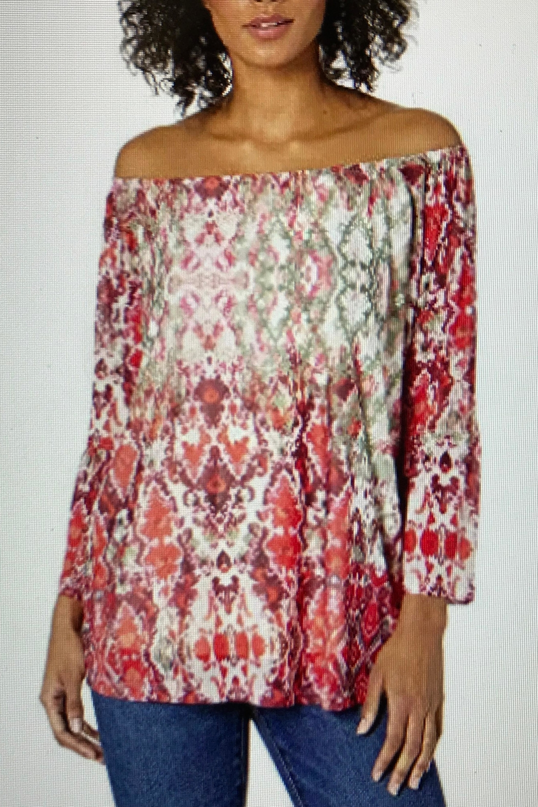 Tribal Print Poet Blouse - Front Cropped Image