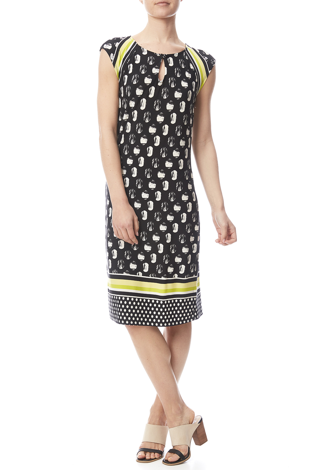 Tribal Cap Sleeve Printed Dress - Front Full Image