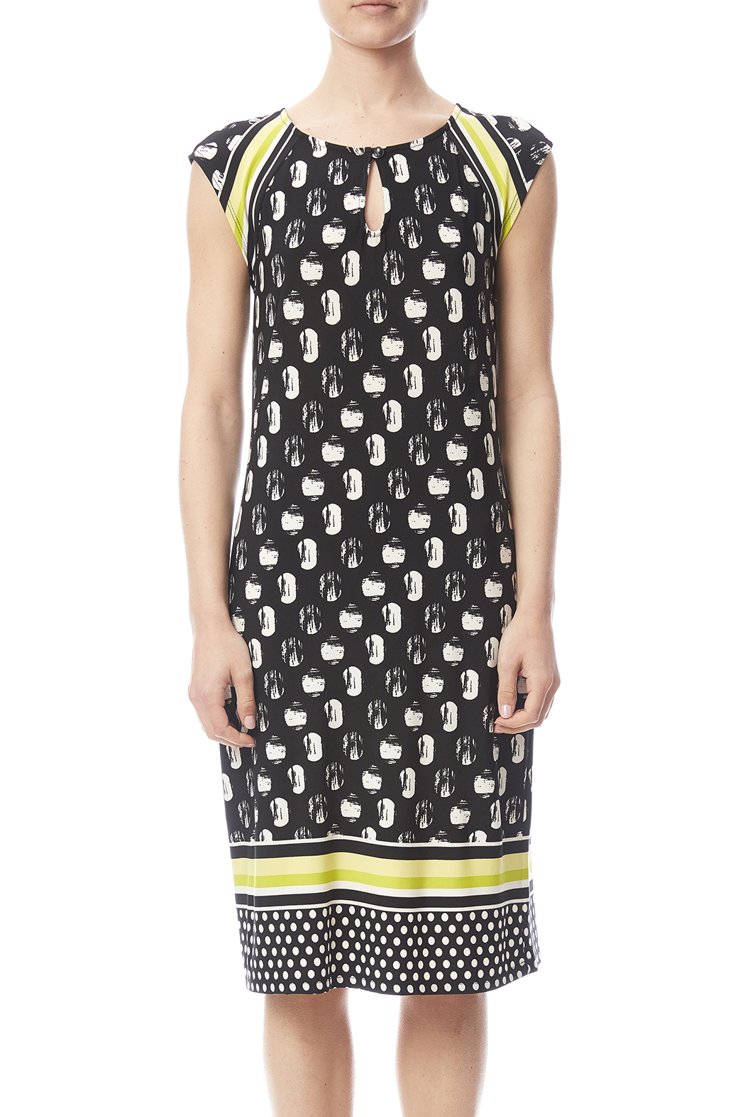 Tribal Cap Sleeve Printed Dress - Side Cropped Image