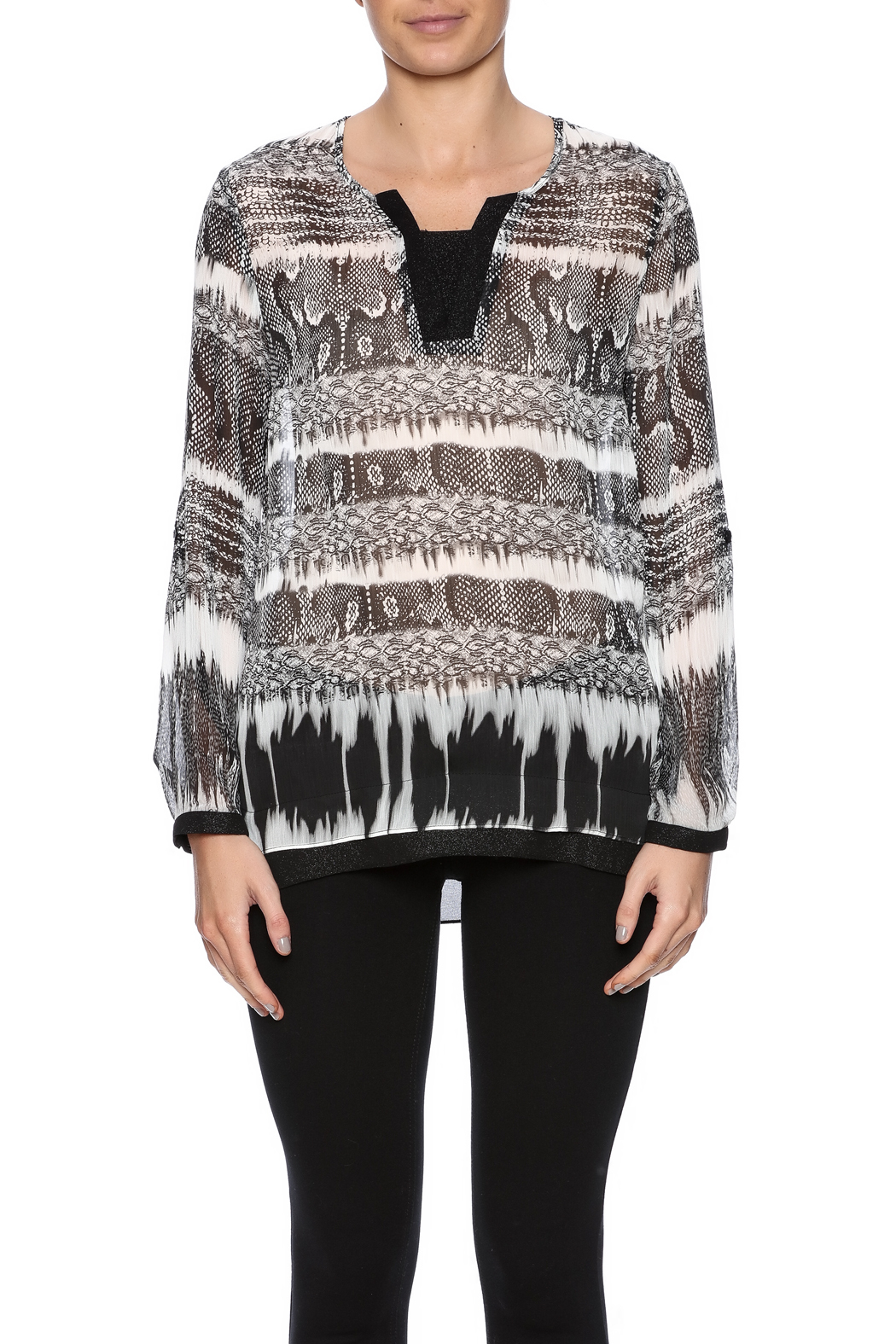 Tribal Printed Tunic Top - Side Cropped Image