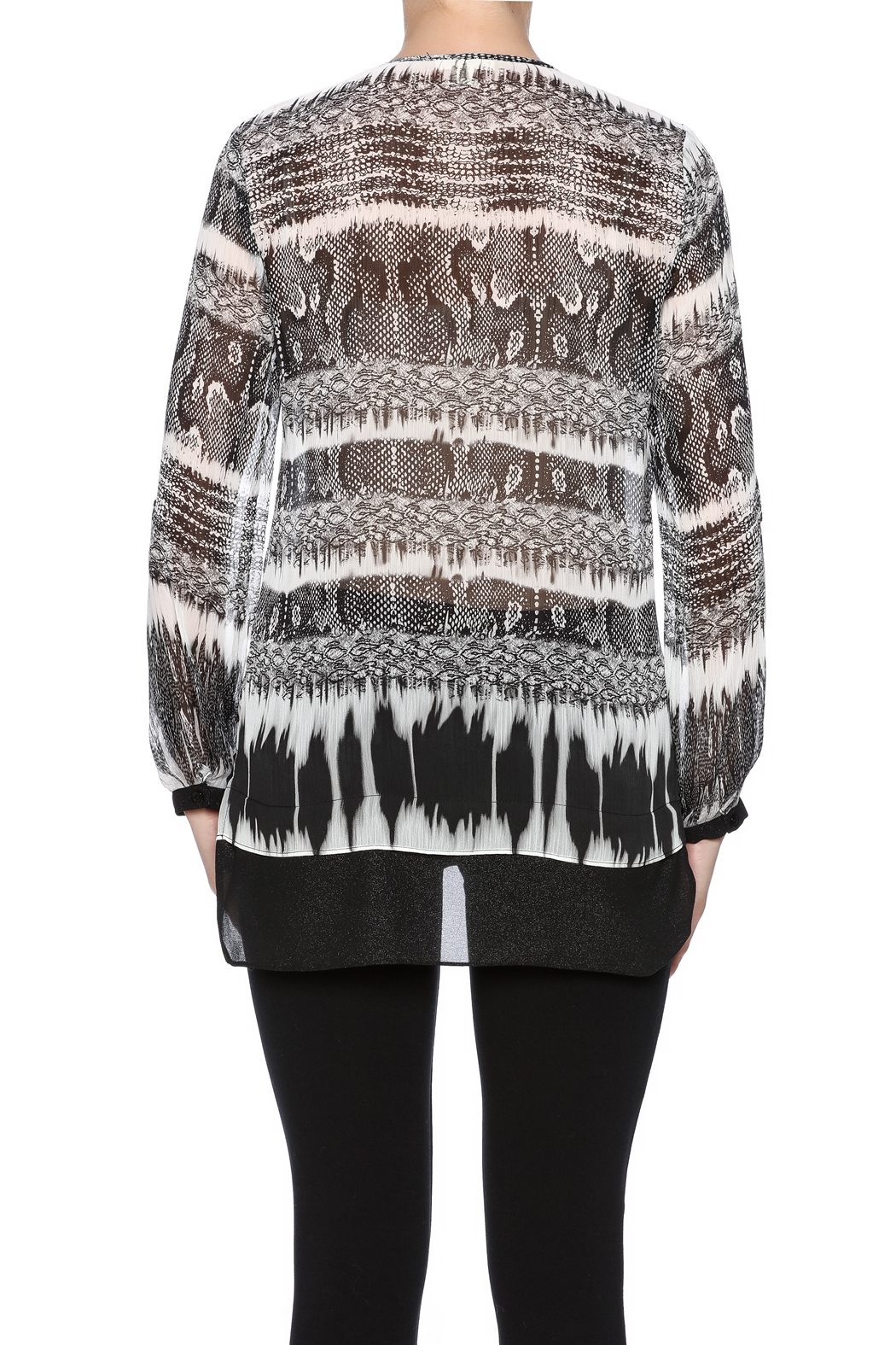 Tribal Printed Tunic Top - Back Cropped Image