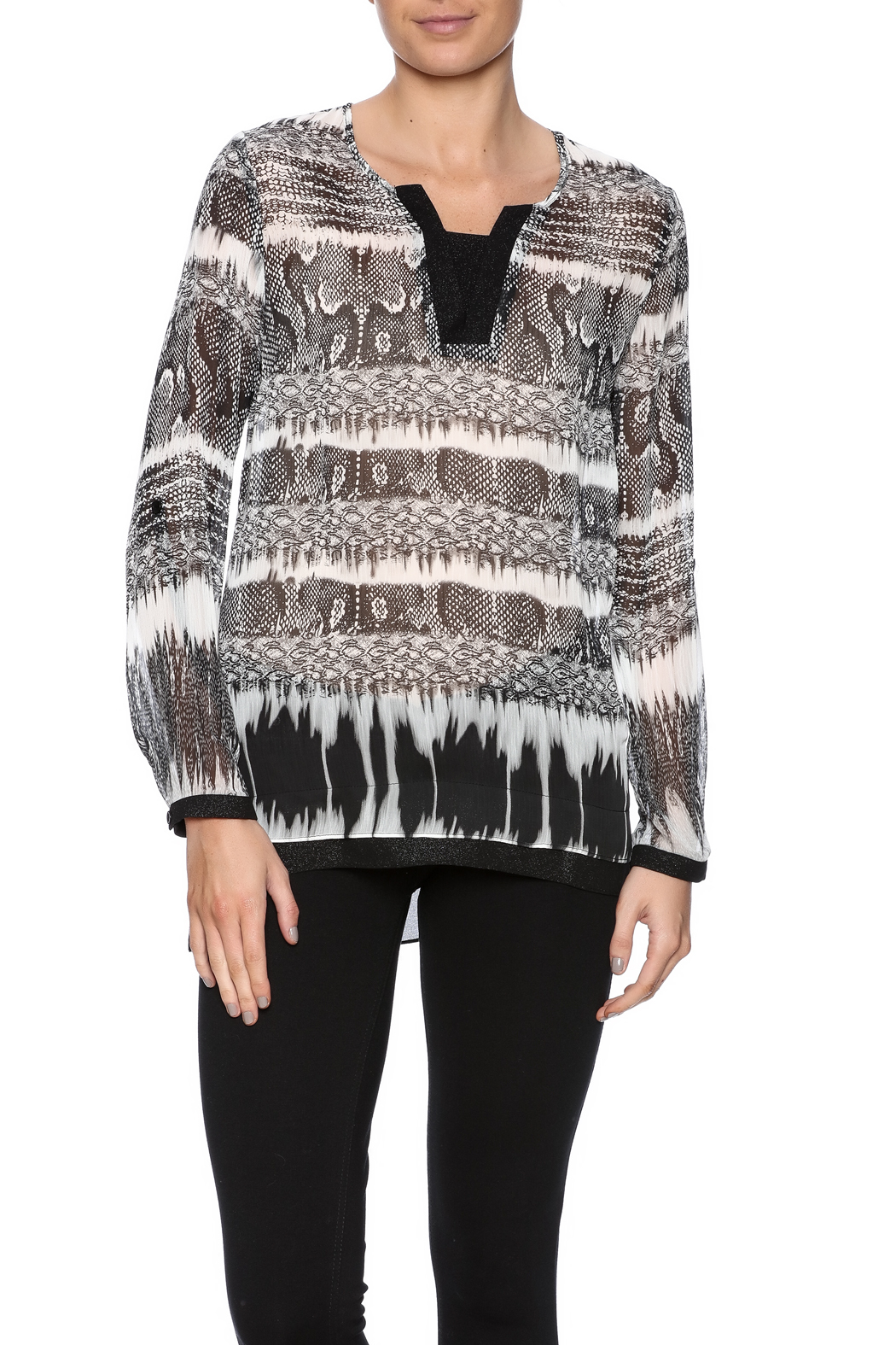 Tribal Printed Tunic Top - Front Cropped Image
