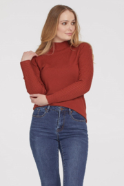 Tribal  Ribbed Mock Neck Sweater - Spice - Product Mini Image