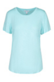 tribal  Tribal S/S Crew Neck Tee with Side Slit in Ocean - Product Mini Image