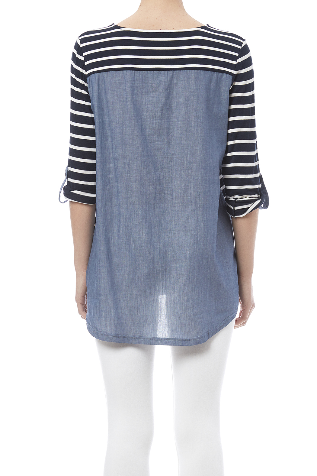 Tribal Stripe Chambray Top - Back Cropped Image